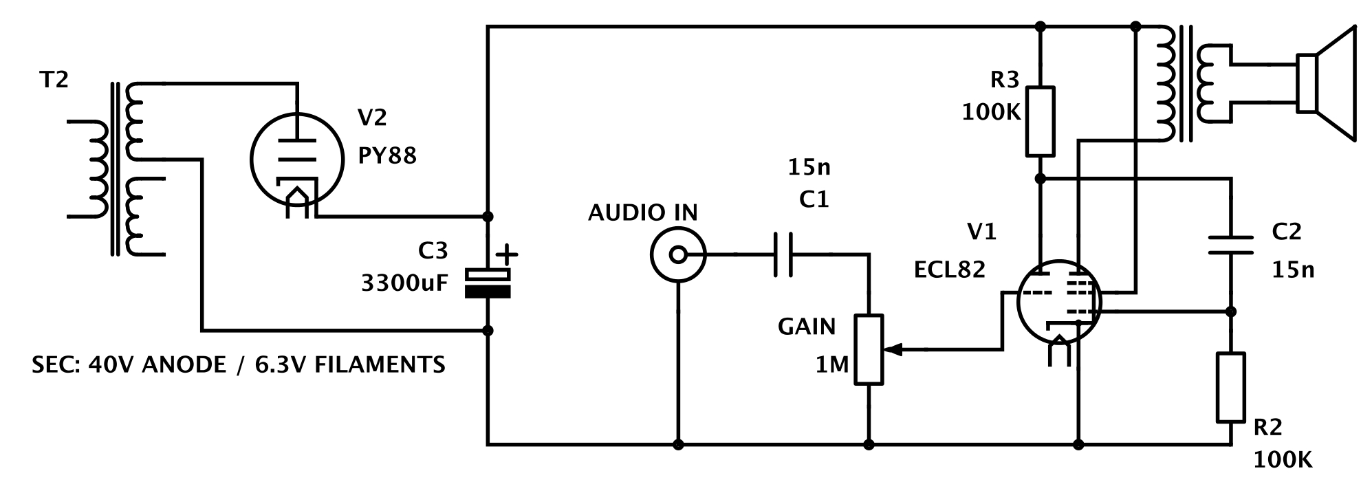 low voltage tube amp is great for beginners hackaday rh hackaday com Guitar Amp Diagram simple guitar tube amp schematic